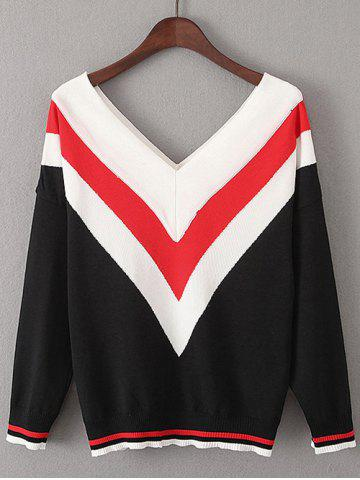 Cheap Color Block V  Shape Stripe Sweater