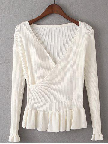 Affordable Faux Wrap Plunge Peplum Knitwear