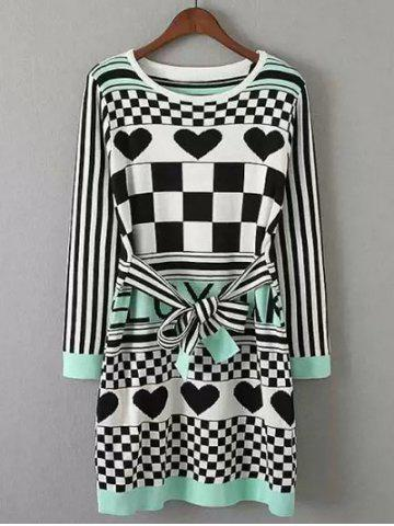 Online Heart Plaid Print Knitted Dress