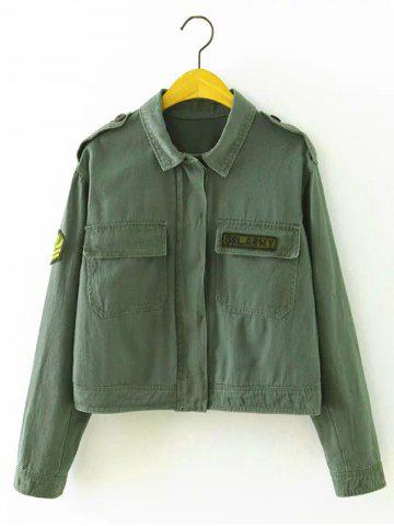 Outfits Patch Cropped Shirt Jacket with Pocket ARMY GREEN S