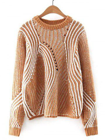 Store Hollow Out Crocheting Striped Chunky Sweater