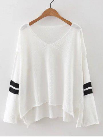 Outfits V Neck High Low Knitted Sweater