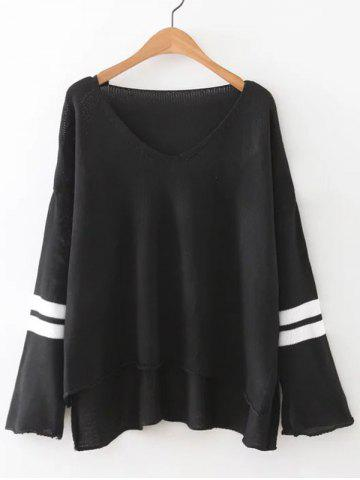 V Neck High Low Knitted Sweater - BLACK M