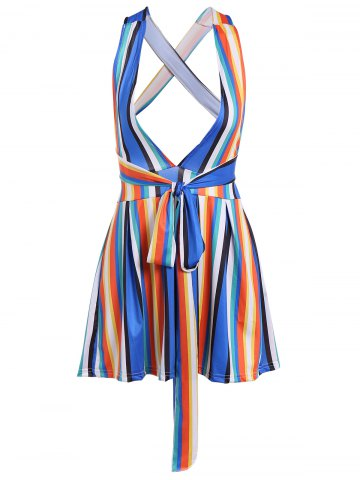 Affordable Criss-Cross Back Lace-Up Colorful Stripe Romper