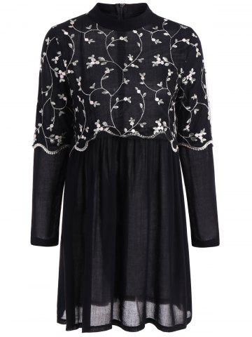 Hot Autumn Leaf Embroidery Long Sleeve Dress BLACK XL