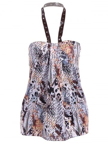 Trendy Rivet PU Halter Amazon Rainforest Boa Skin Tank Top BROWN XL