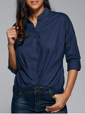Discount Ruched Button Design Asymmetrical Blouse