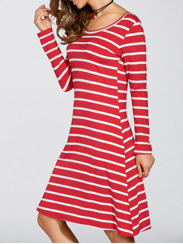 Best Scoop Neck Striped Stretchy Dress RED XL
