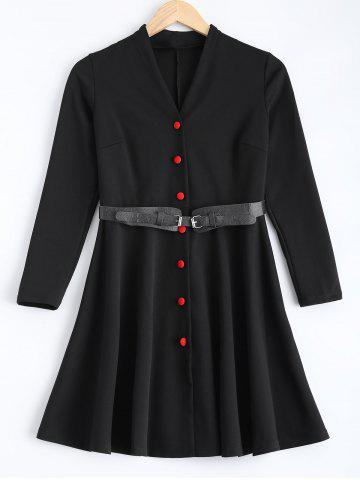 Cheap V-Neck Button-Down Belted Dress