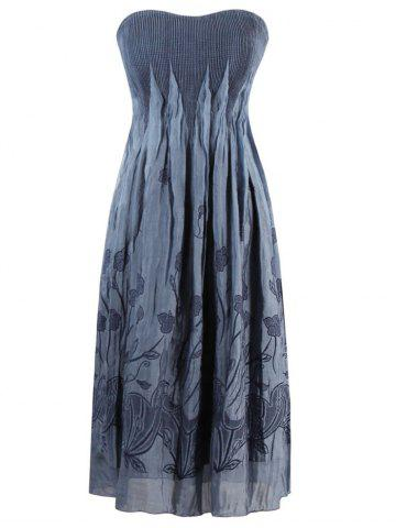 Embroidered Strapless Vintage Dress - GRAY ONE SIZE