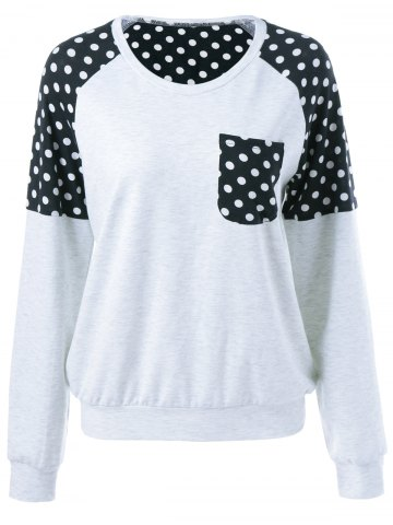 Buy Polka Dot Trim Single Pocket Sweatshirt LIGHT GRAY XL