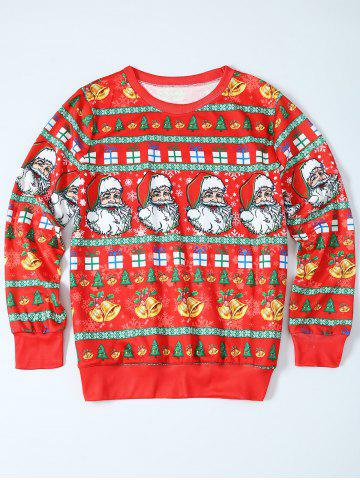 Shop Father Christmas Print Loose Fit Sweatshirt RED XL