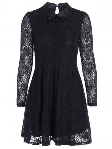 Online Mini Lace A Line Dress with Sleeves BLACK 3XL