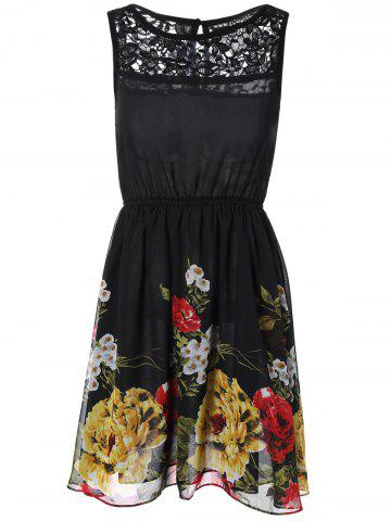 Discount Lace Splicing Floral Print Chiffon Dress