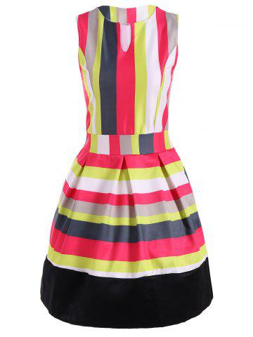 Sale Colorful Striped Sleeveless Swing Dress