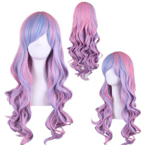 Fancy Colored Long Side Bang Wavy Cosplay Synthetic Wig COLORMIX