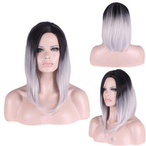 Buy Medium Side Parting Straight Gradient Color Cosplay Synthetic Wig - Black Grey