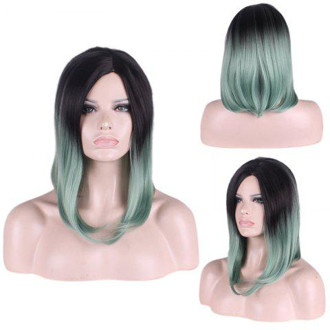 Fashion Medium Gradient Color Side Parting Straight Tail Adduction Cosplay Synthetic Wig