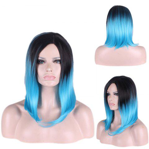 Discount Medium Gradient Side Parting Straight Tail Adduction Cosplay Synthetic Wig