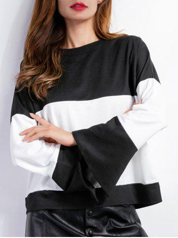Discount Color Block Bell Sleeves T-Shirt