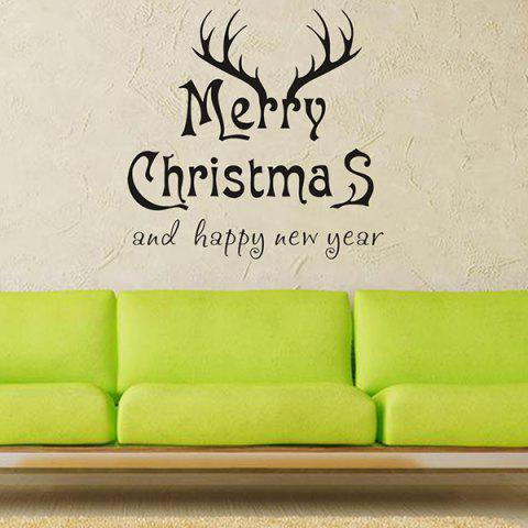 Merry Christmas Deer Head Removeable Wall Sticker - Black