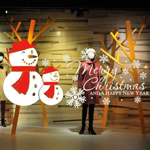 Latest Merry Christmas Snow Man Removeable Wall Sticker WHITE