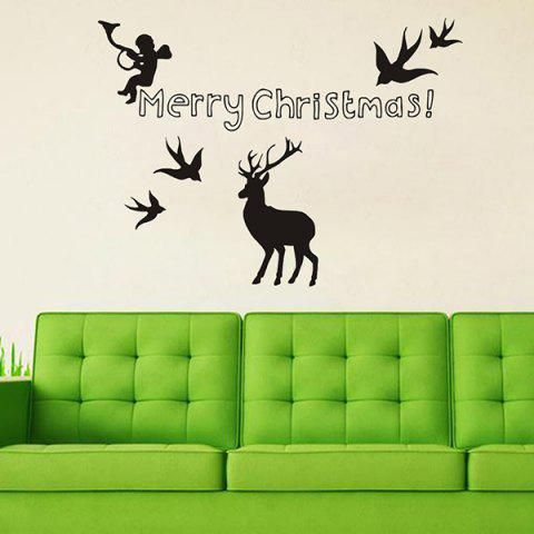 Hot Merry Christmas Angel Deer Removeable Window Glass Wall Sticker