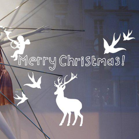 Merry Christmas Angel Deer Removeable Window Glass Wall Sticker - WHITE