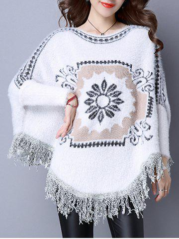 Flower Jacquard Fringed Cashmere Cape - White - One Size