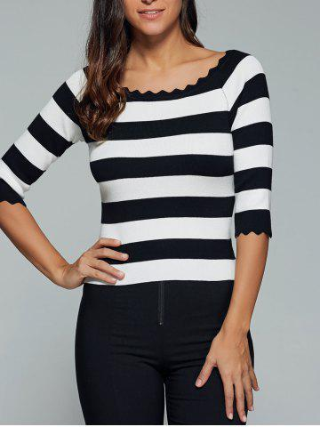 Latest Color Block Scalloped 3/4 Sleeve Knitwear