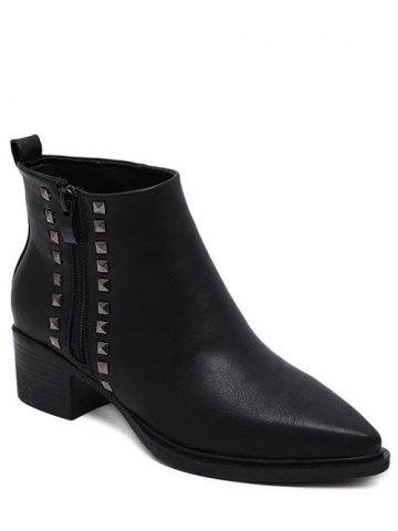 Pointed Toe Metal Rivets Zipper Ankle Boots - Black - 37
