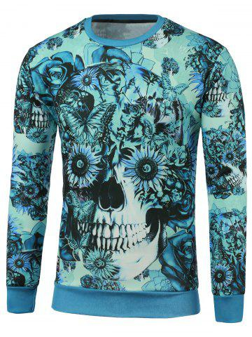 Fancy Crew Neck Floral Skull Printed Sweatshirt BLUE XL