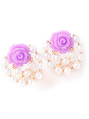 Cheap Faux Pearl Rose Floral Earrings
