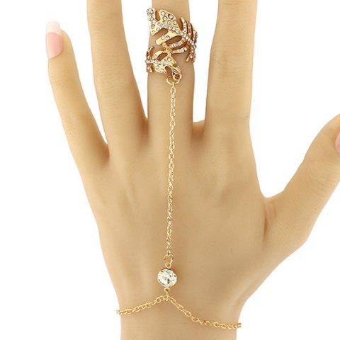 Fancy Rhinestone Feather Bracelet With Ring GOLDEN