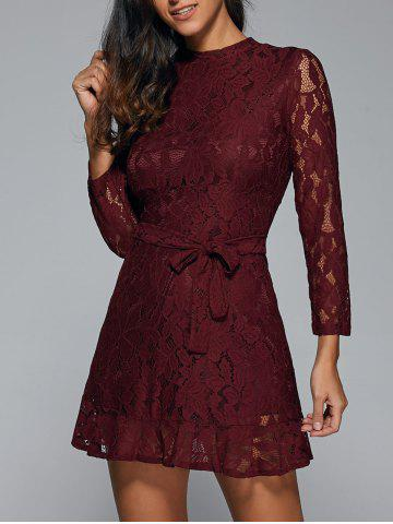 Trendy Belted Sheer Lace Dress