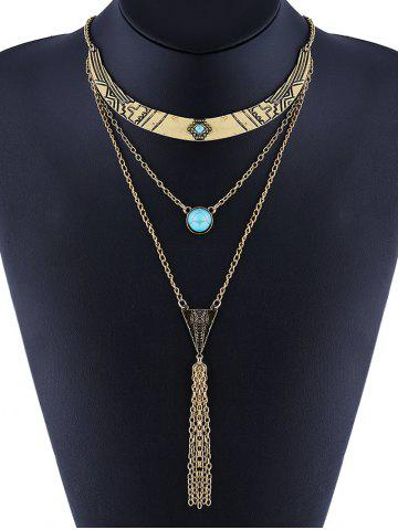 Outfits Faux Turquoise Layered Geometric Bohemian Necklace