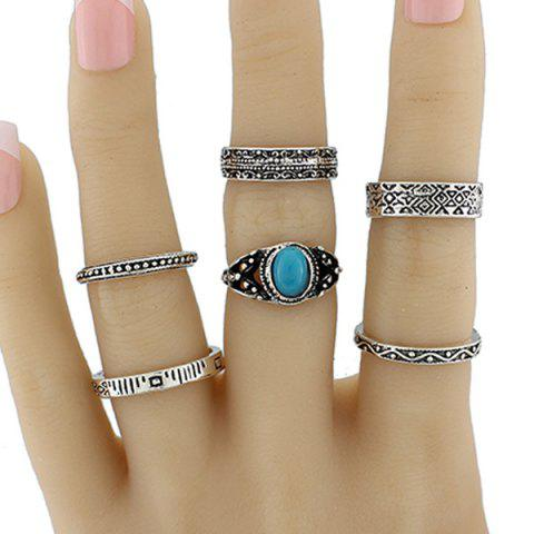 Latest Faux Turquoise Circle Jewelry Fingertip Ring Set
