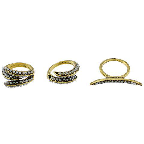 Buy Faux Pearl Leaf Jewelry Ring Set