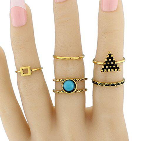 Online Alloy Circle Geometric Jewelry Ring Set