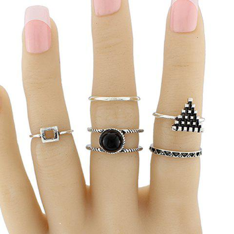 Latest Alloy Circle Geometric Jewelry Ring Set SILVER ONE-SIZE