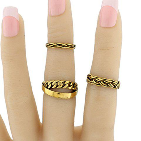 Trendy Alloy Braid Circle Jewelry Ring Set GOLDEN ONE-SIZE