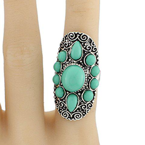 Sale Faux Gem Water Drop Floral Ring GREEN ONE-SIZE