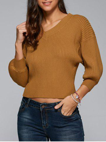 New V Neck Drop Sleeve Pullover Sweater