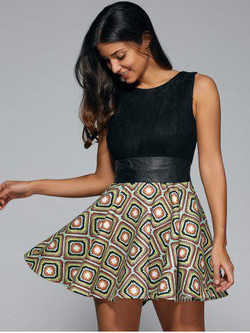 Buy Geometrical Sleeveless Fit and Flare Dress