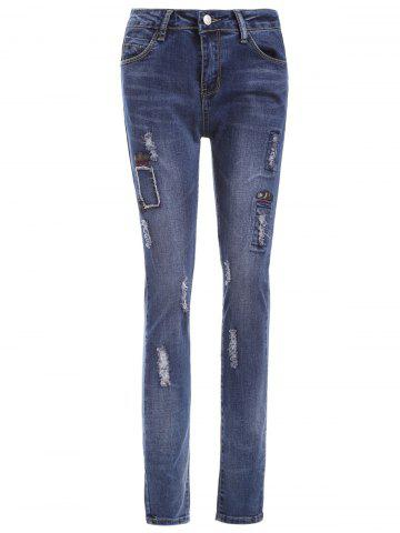 Sale Skinny Letter Pattern Ripped Jeans
