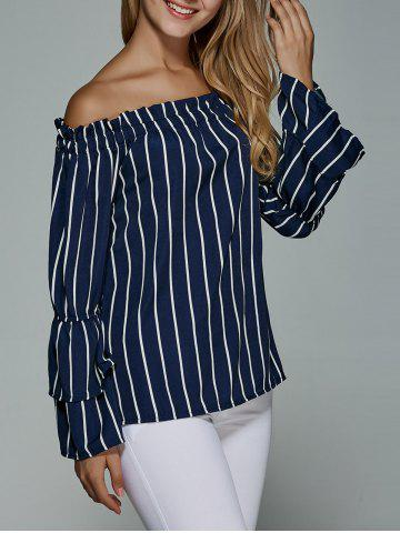 Shops Striped Flare Sleeve Off The Shoulder Blouse