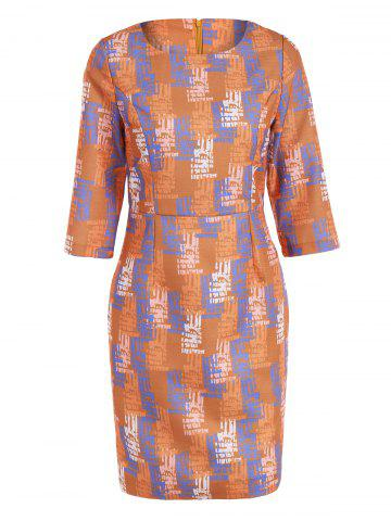 Buy 3/4 Sleeve Zipper Sheath Dress ORANGE 3XL