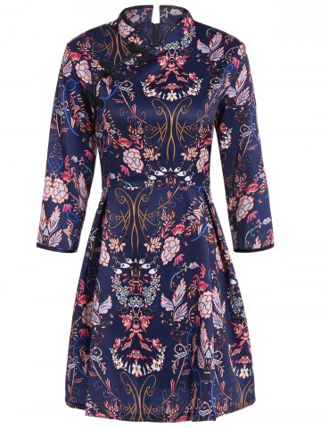 Store Chinese Style Flower Print Vintage Dress