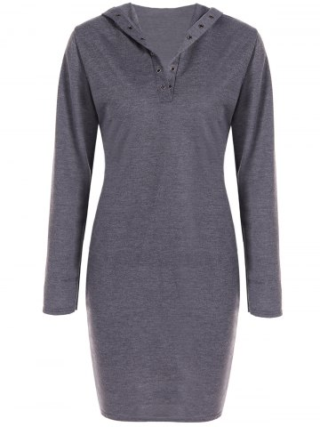 New Hooded Long Sleeve Dress GRAY XL