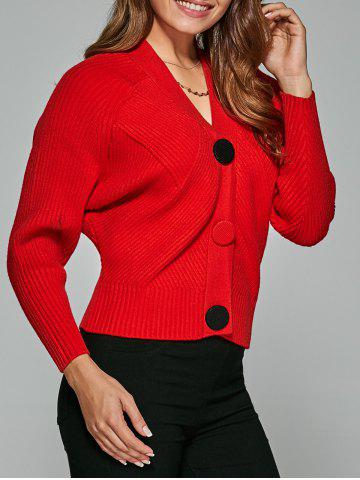 Raglan Sleeve Ribbed Button Short Cardigan - Red - One Size